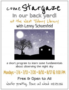 Stargazing with Lenny Schoenfeld  @ In the library's back yard!