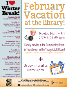 February Vacation at the Library - CRAFTS!