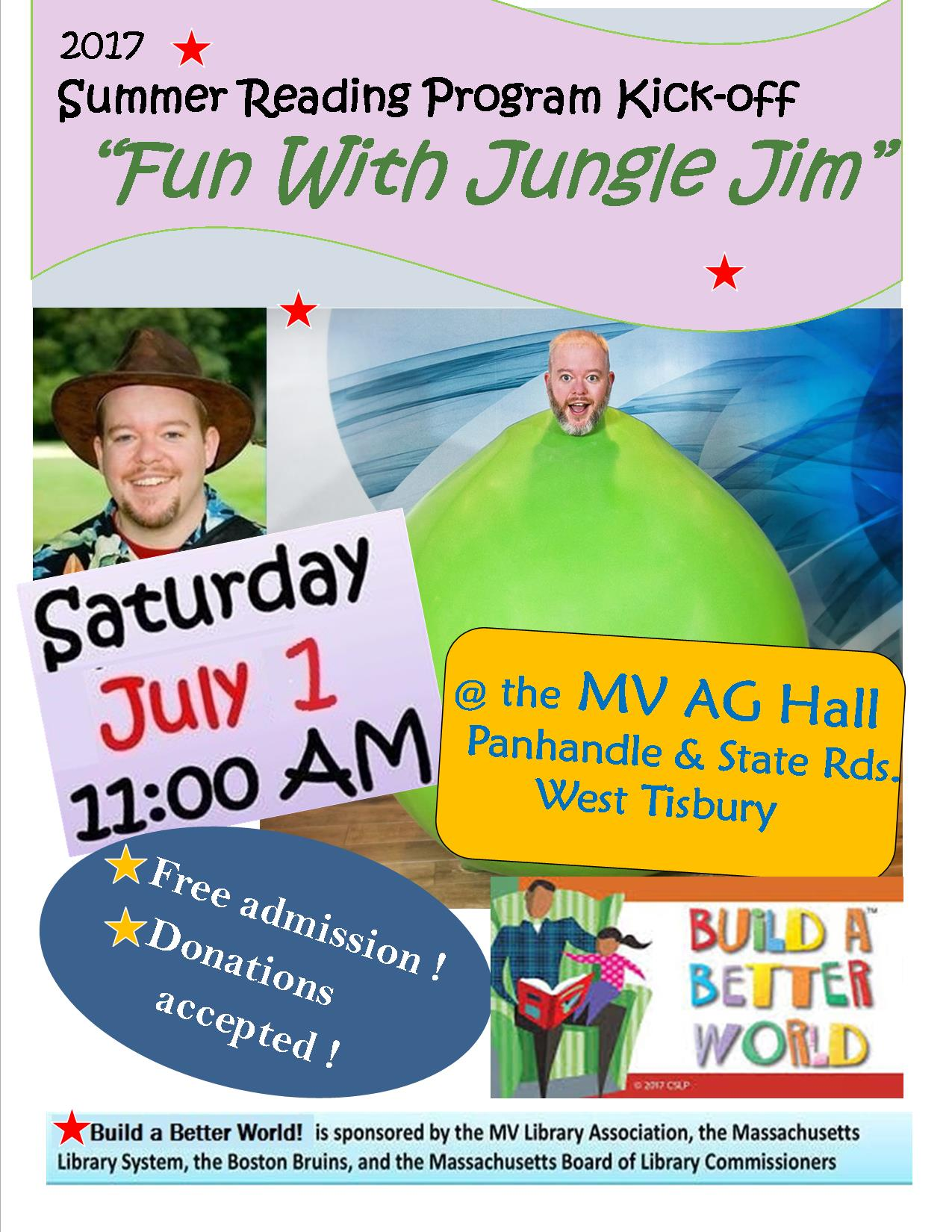 Summer Reading Kick-off with Jungle Jim! @ Martha's Vineyard Agricultural Hall | West Tisbury | Massachusetts | United States