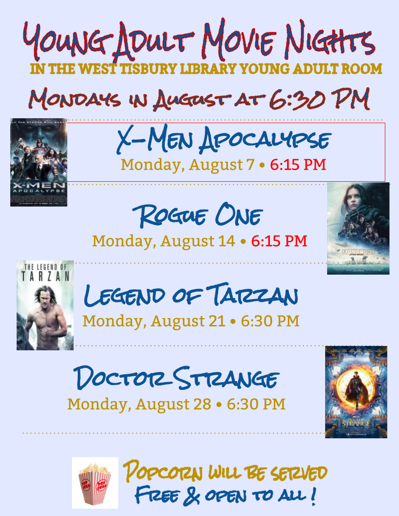 YA Movie Nights Aug 2017