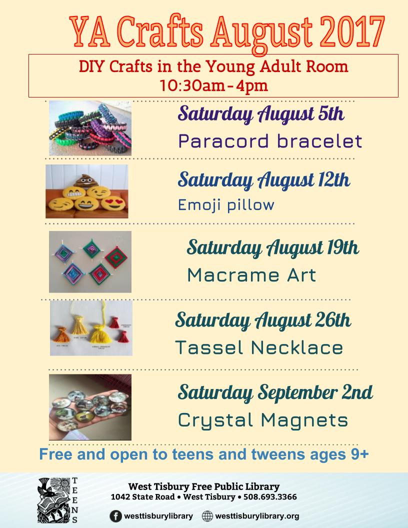 YA Crafts - Saturdays in August!