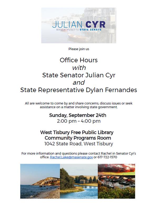Office Hours w/ State Senator Julian Cyr & State Representative Dylan Fernandes