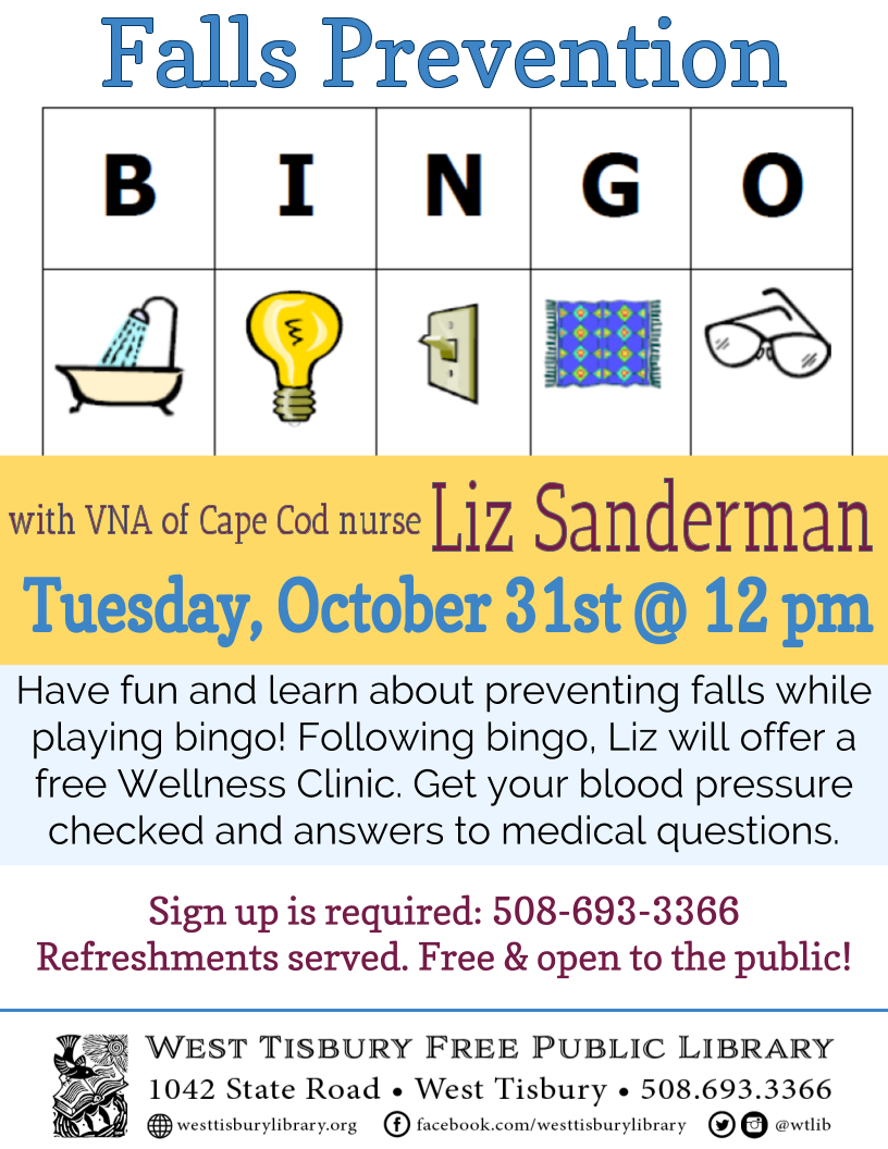 Falls Prevention Bingo followed by Free Wellness Clinic