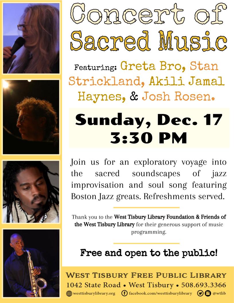 Concert of Sacred Music: Greta Bro, Stan Strickland, Josh Rosen, & Akili Jamal Haynes