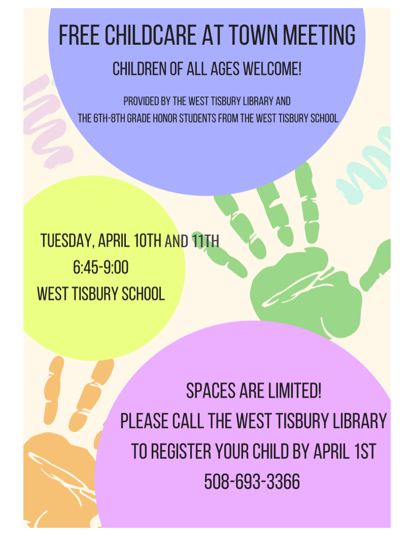 free childcare at west tisbury town meeting
