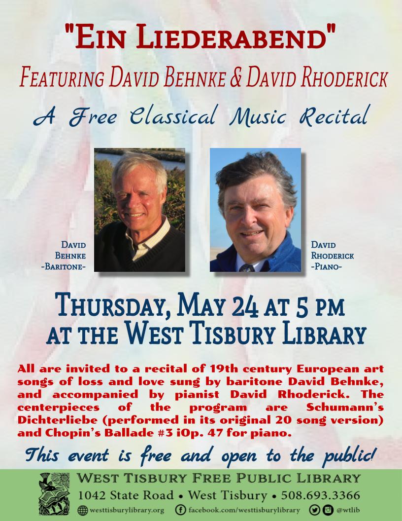 """""""Ein Liederabend"""" Concert with David Rhoderick & David Behnke"""