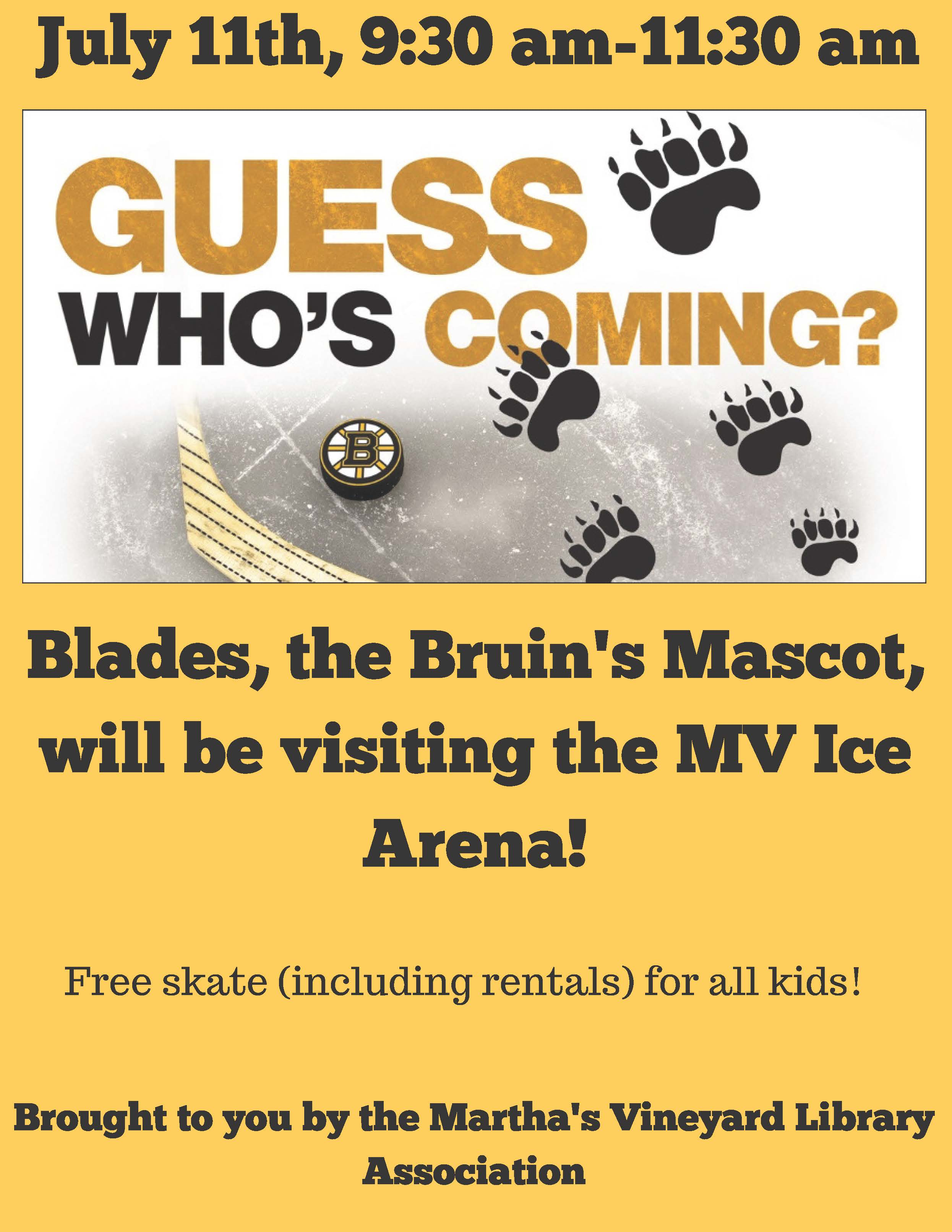 Free Skate with Bruins' Mascot, Blades! (at the MV Ice Arena) @ Martha's Vineyard Ice Arena