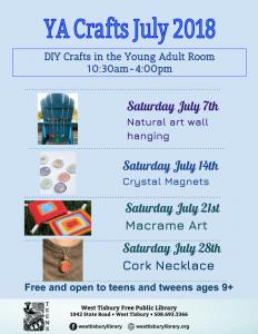 YA Crafts in JULY!