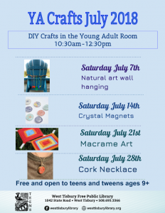 YA Crafts in JULY!