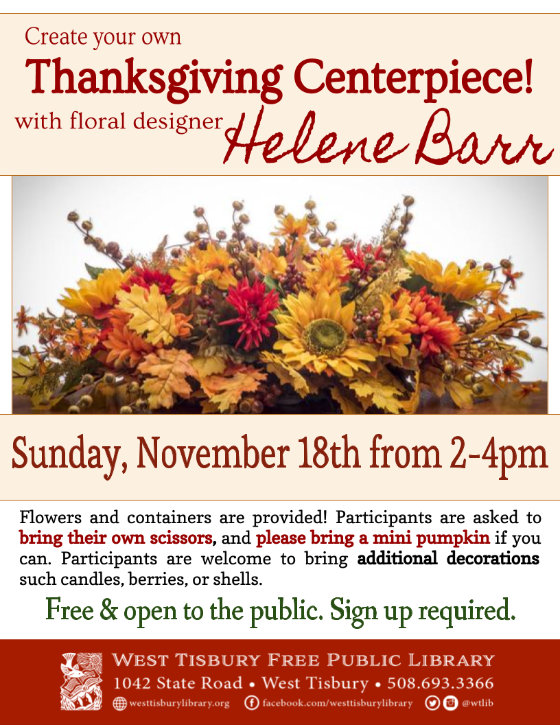 CLASS FULL! Make a Thanksgiving Centerpiece with Helene Barr!