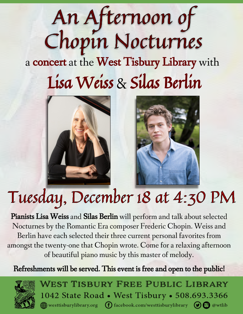 An Afternoon of Chopin Nocturnes with Lisa Weiss and Silas Berlin
