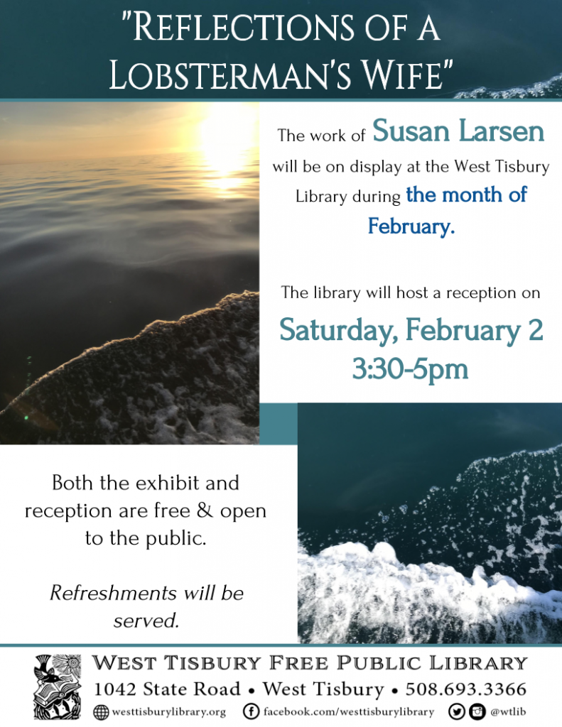 """Art Reception: """"Reflections of a Lobsterman's Wife"""" by Susan Larsen"""