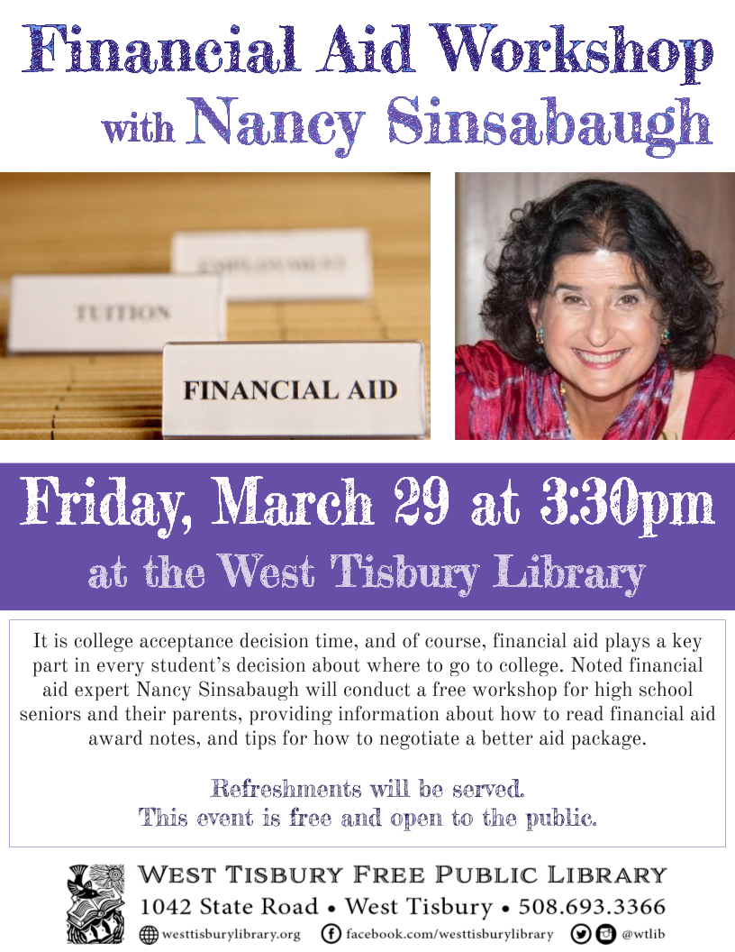 Financial Aid Workshop with Nancy Sinsabaugh