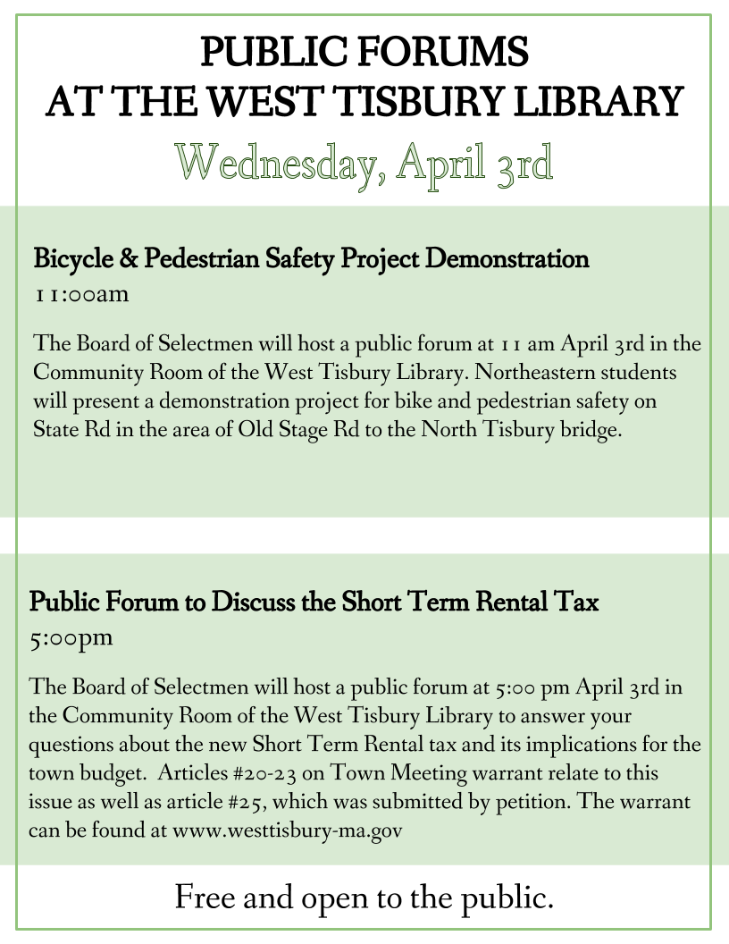 Public Forum to Discuss the Short Term Rental Tax