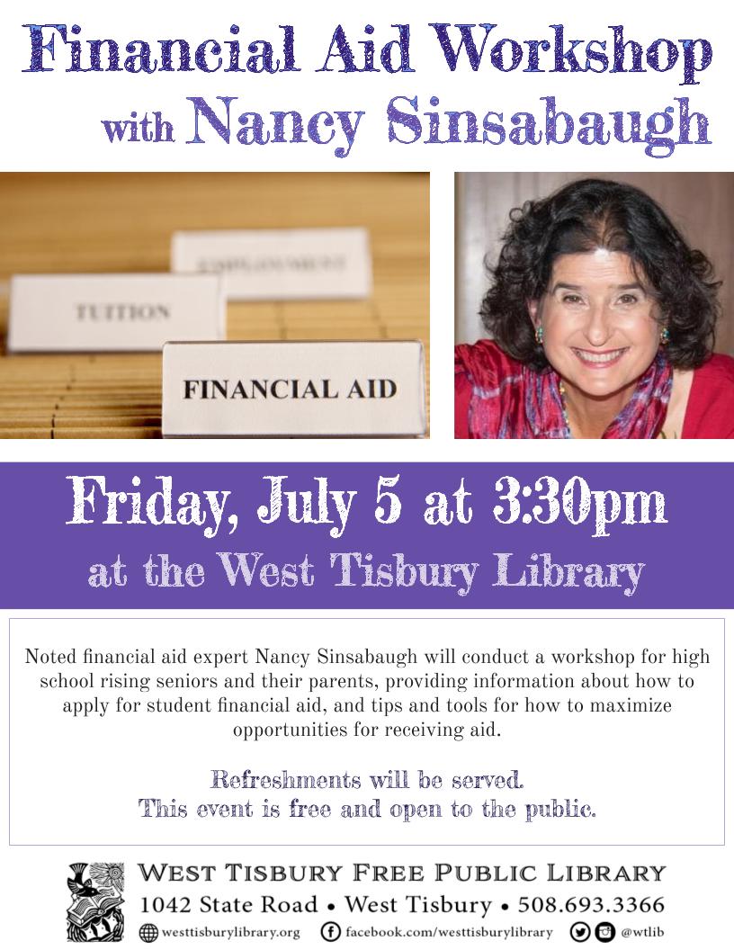 Financial Aid Workshop with Nancy Sinsabaugh