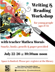 Writing & Reading Workshop with Mathea Morais