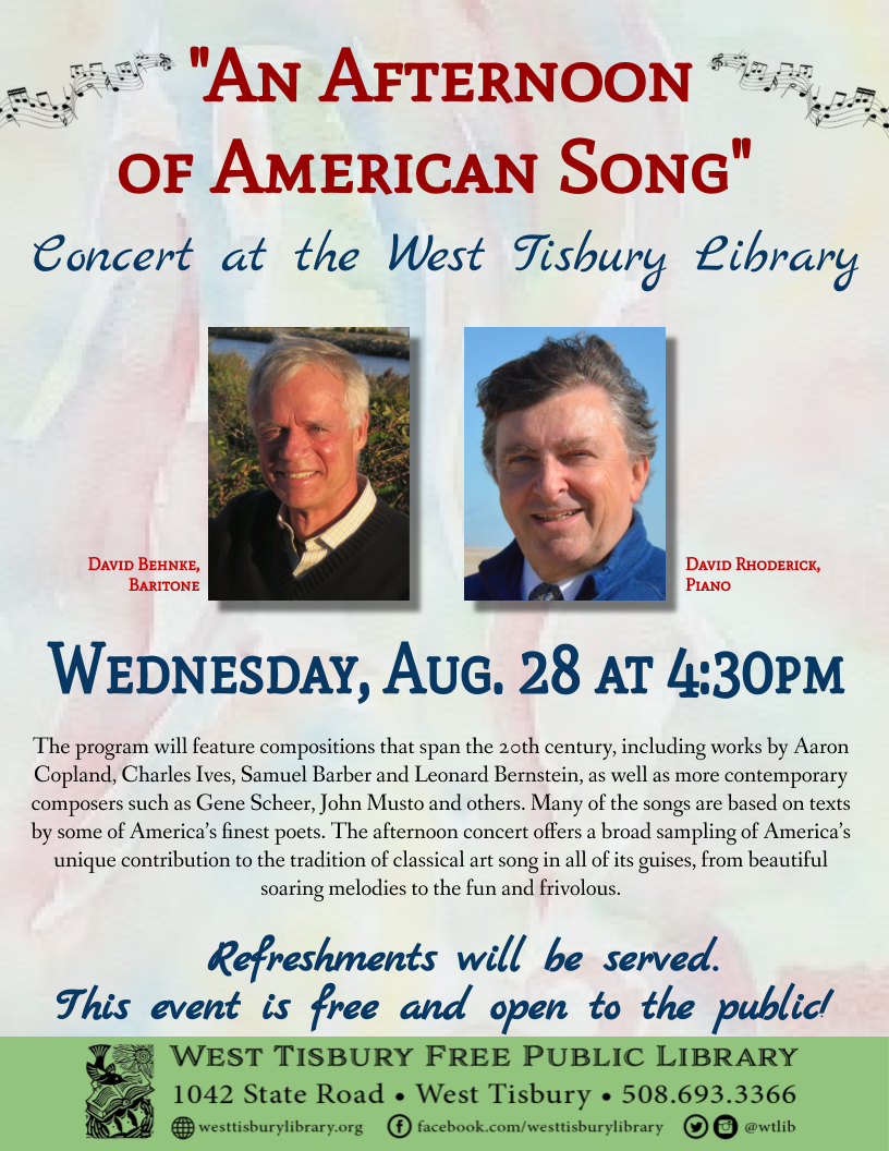 "Concert: ""An Afternoon of American Song"""