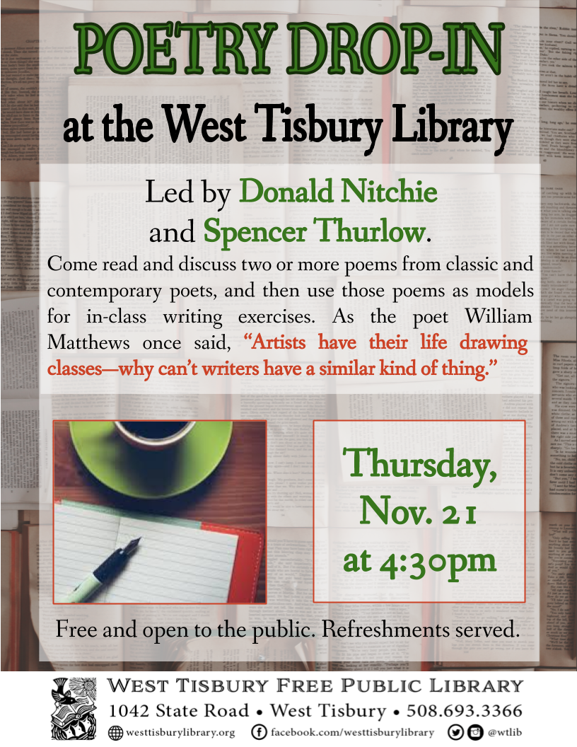 Poetry Drop-in with Spencer Thurlow and Donald Nitchie