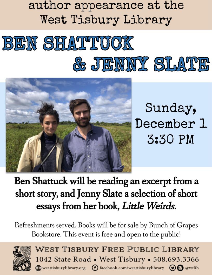 Author Appearance: Ben Shattuck and Jenny Slate