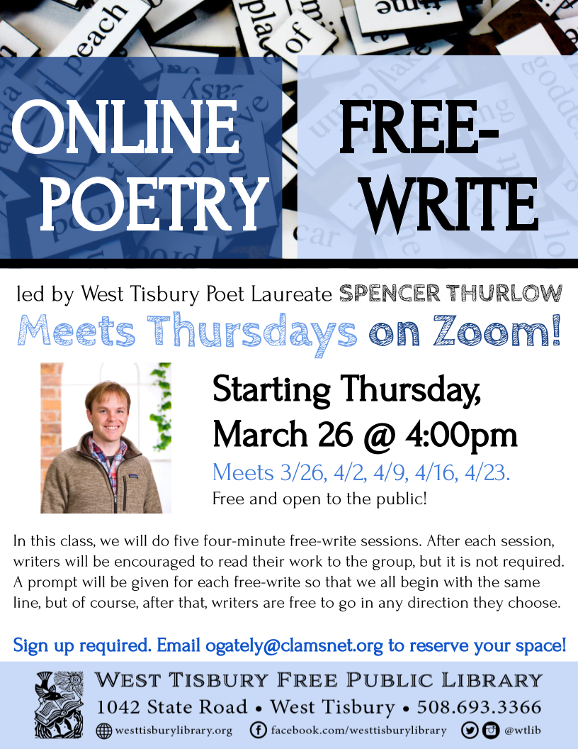 CLASS FULL! Online Free-Write Poetry Class