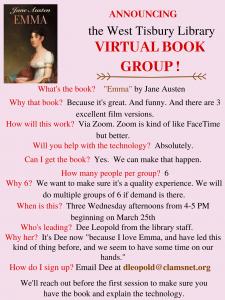 "CLASS FULL-Online Book Club ""Emma"""