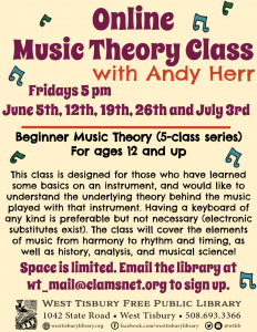 Online Beginner Music Theory (5-class series) with Andy Herr