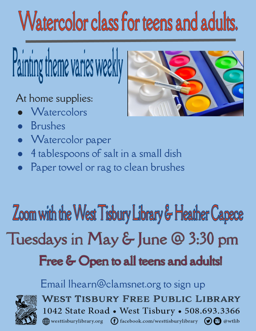 Virtual Watercolor class for teens and adults