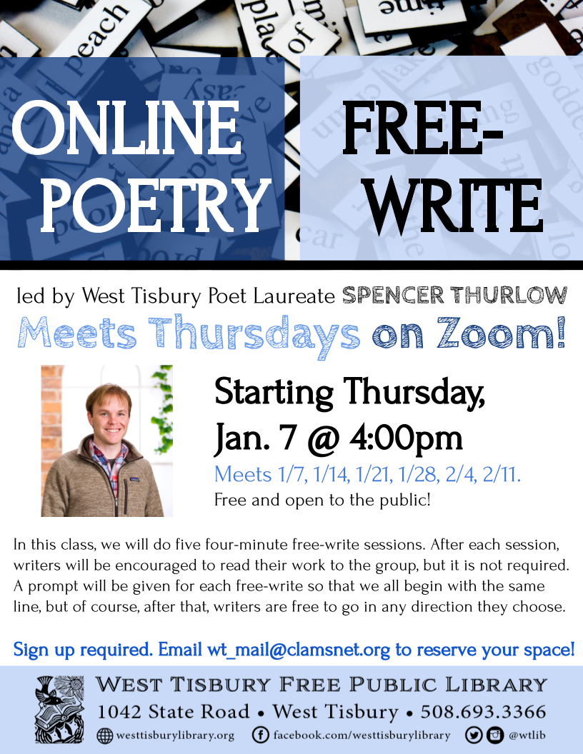 CLASS FULL! Online Free-Write Poetry Class - Series 7