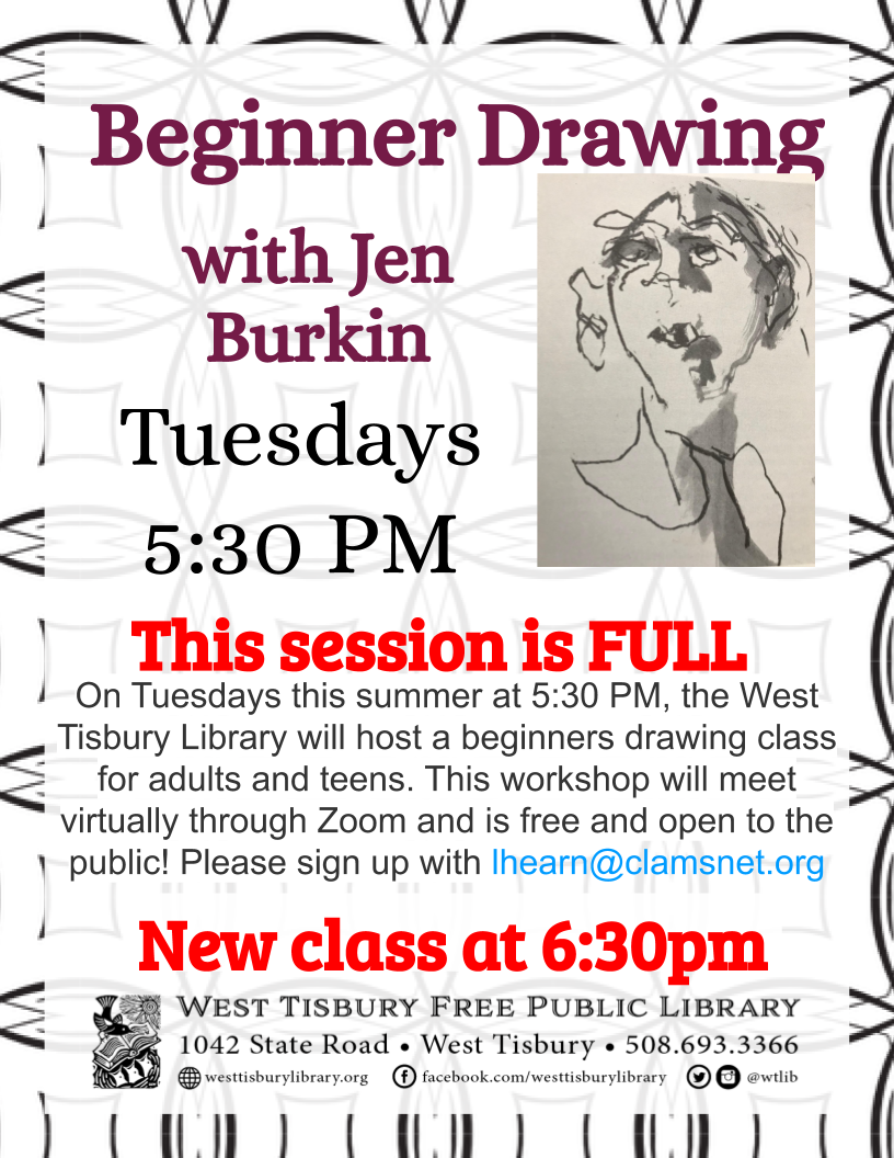 Virtual class: Beginner Drawing for adults and teens-full 2nd session added