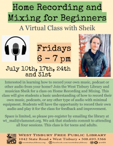 Virtual Class on Home Recording and Mixing