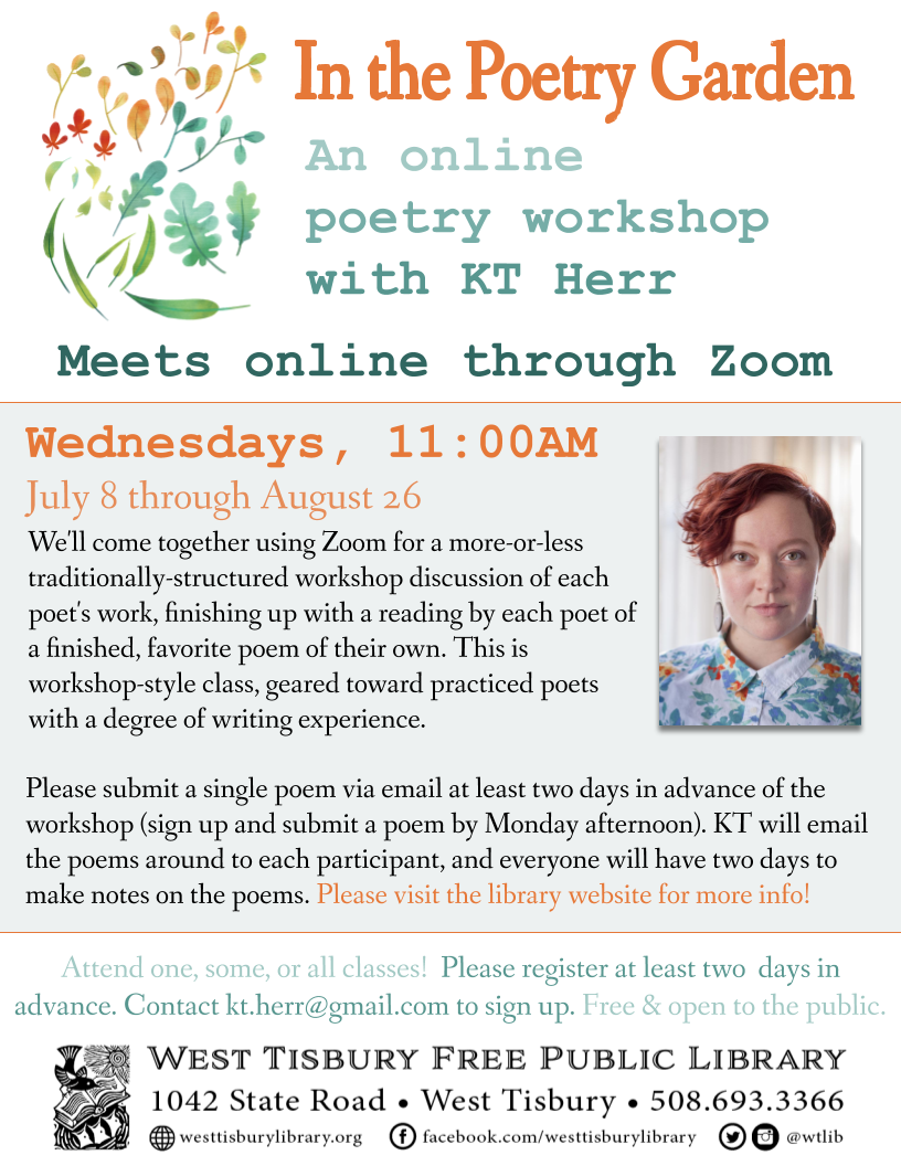 CLASS FULL! In the Poetry Garden: An Online Poetry Workshop