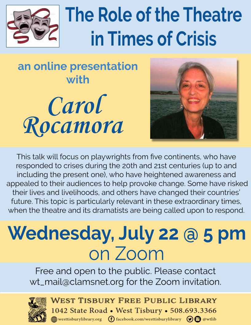 Online Talk with Carol Rocamora: The Role of the Theatre in Times of Crisis