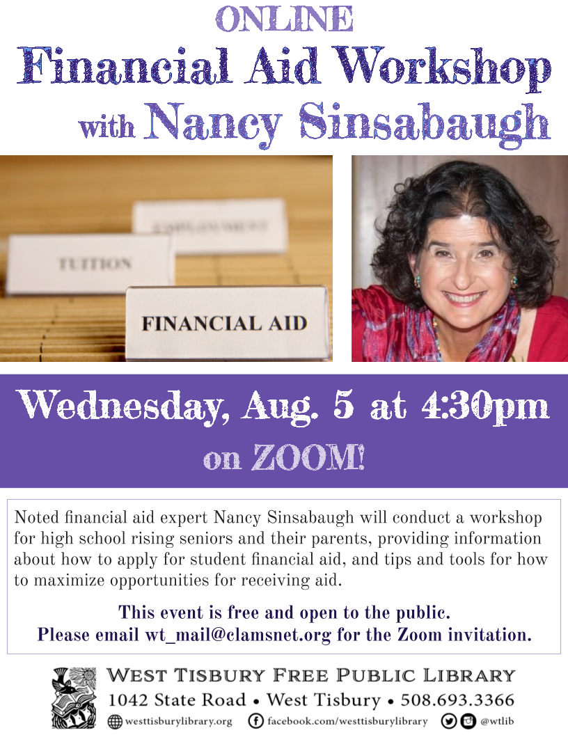 Online Workshop: Financial Aid 101 with Nancy Sinsabaugh