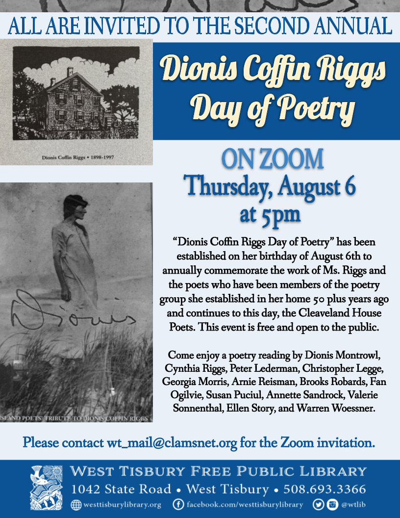 Online Event: Second Annual Dionis Coffin Riggs Day of Poetry