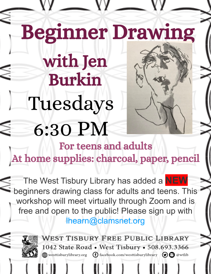 NEW SESSION-Virtual beginner drawing class for adults and teens