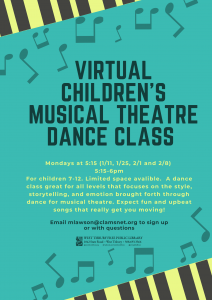 Virtual Children's Musical Theater Dance Class