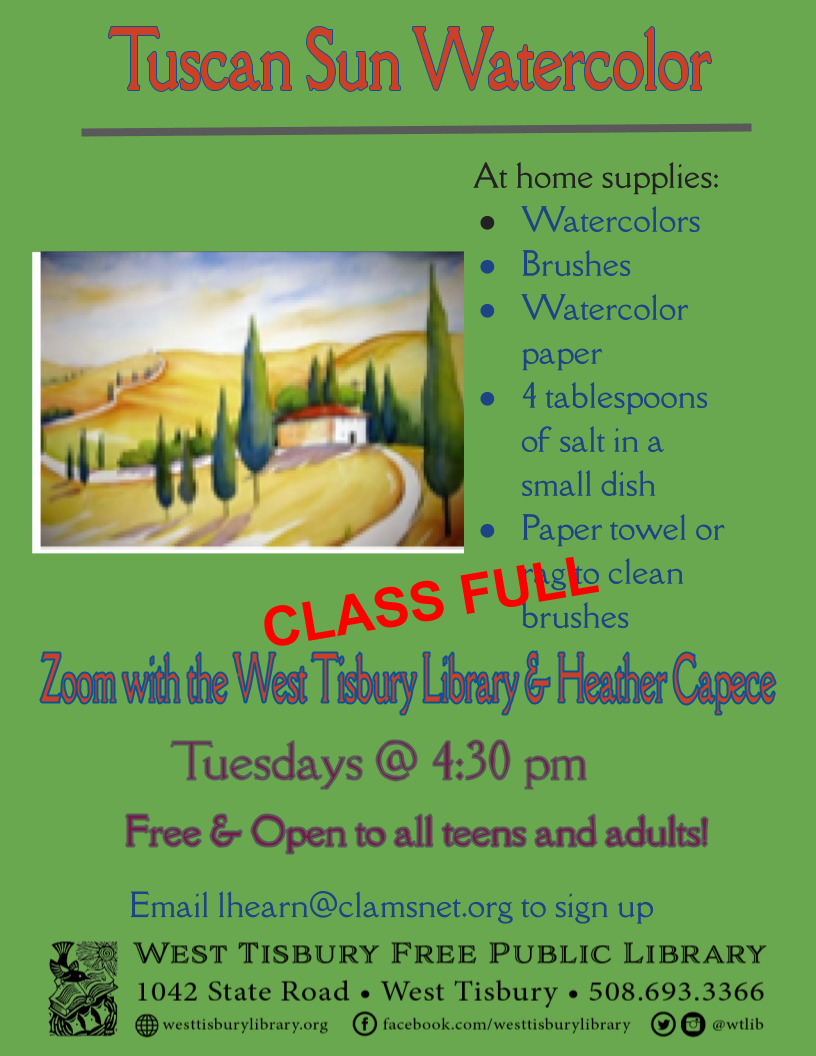 CLASS FULL! Watercolor class for adults