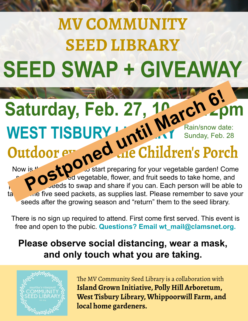 POSTPONED! - MV Community Seed Library's Seed Swap and Giveaway