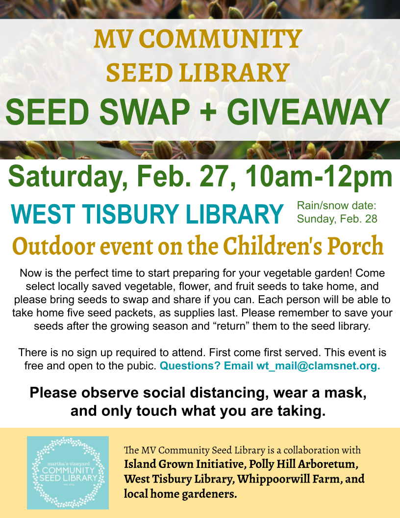 MV Community Seed Library's Seed Swap and Giveaway