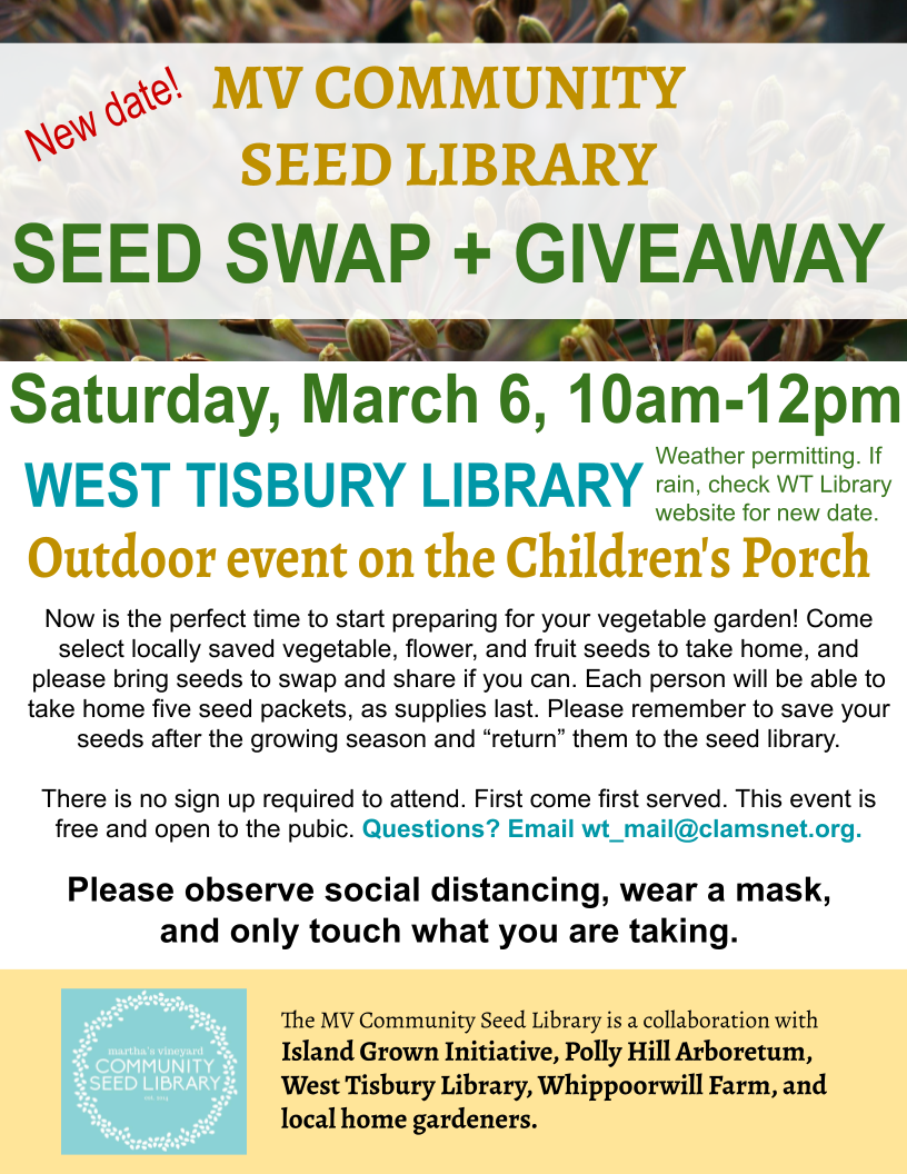 New date! - MV Community Seed Library's Seed Swap and Giveaway