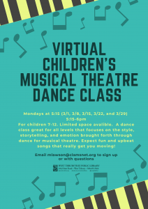 Virtual Children's Musical Theatre Jazz Class