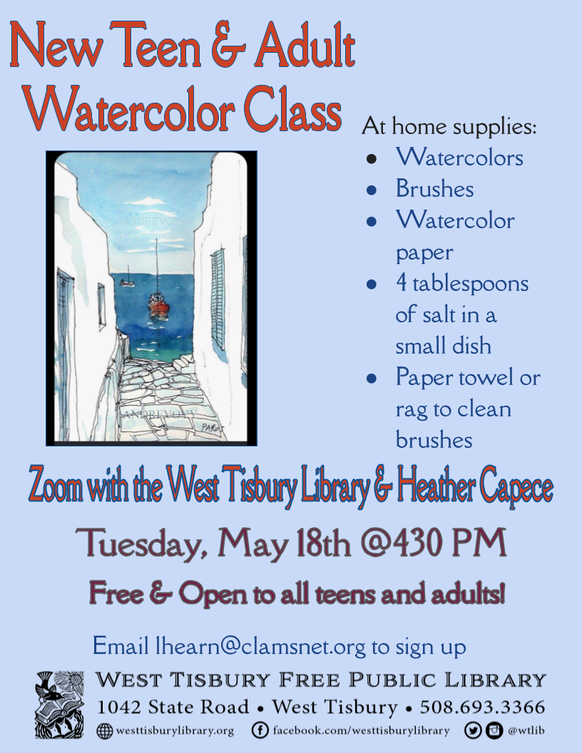 NEW virtual watercolor class for teens and adults!